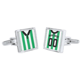 Name & Number Football Soccer Jersey Cuff Links Silver Finish Cufflinks