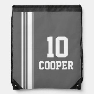 Name number grey sports stripe drawstring bag
