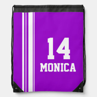 Name number purple sports stripe drawstring bag