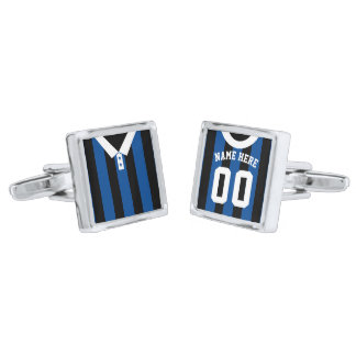 Name & Number Soccer Football Jersey Cuff Links Silver Finish Cuff Links