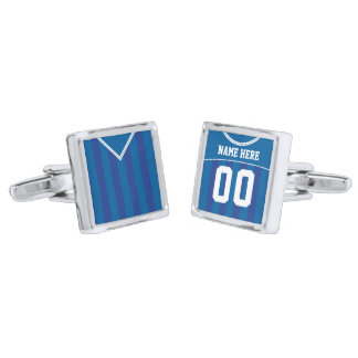 Name & Number Soccer Jersey Cuff Links, Blue Silver Finish Cuff Links