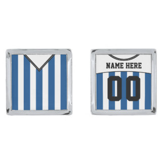 Name & Number Soccer Jersey Cuff Links, Blue Silver Finish Cufflinks