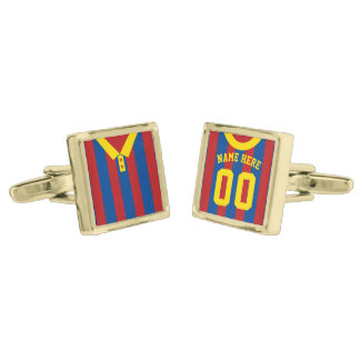 Name & Number Soccer Jersey Cuff Links Gold Finish Cuff Links