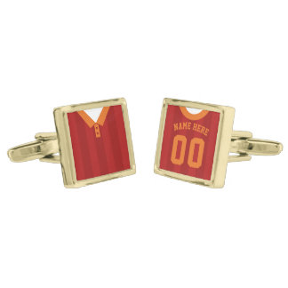 Name & Number Soccer Jersey Cuff Links Gold Finish Cufflinks