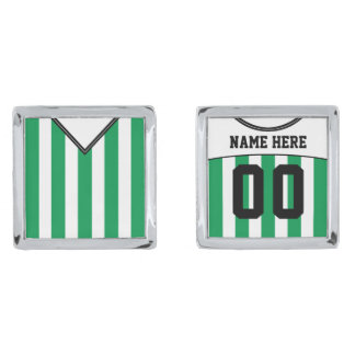Name & Number Soccer Jersey Cuff Links, Green Silver Finish Cuff Links