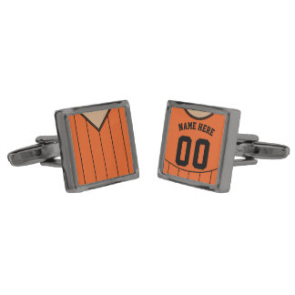 Name & Number Soccer Jersey Cuff Links Gunmetal Finish Cuff Links