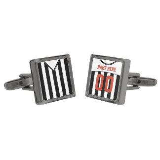 Name & Number Soccer Jersey Cuff Links Gunmetal Finish Cufflinks