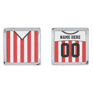 Name & Number Soccer Jersey Cuff Links Silver Finish Cuff Links