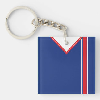 Name & Number Soccer Jersey Keyring Blue Red White