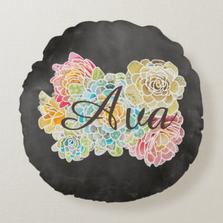 Name on Chalkboard With Flowers & Lord's Prayer - Round Cushion