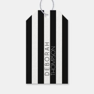 name on stripes black and white gift tags