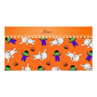 Name orange frankenstein mummy pumpkins photo cards