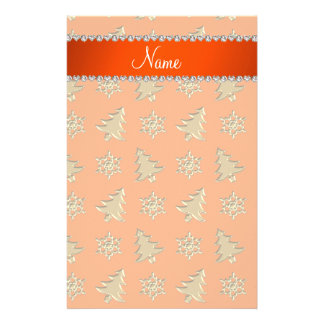 Name orange gold christmas trees snowflakes stationery