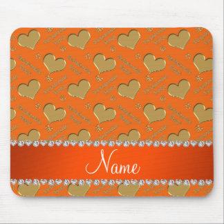 Name orange gold hearts bachelorette party mouse pad