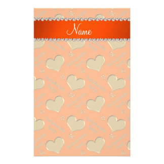 Name orange gold hearts bachelorette party personalised stationery