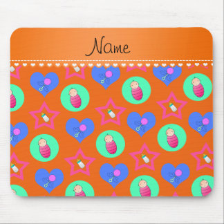 Name orange hearts dots stars baby rattle bottle mouse pad