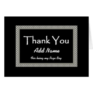 NAME  Page Boy Chequerboard Wedding THANK YOU Card