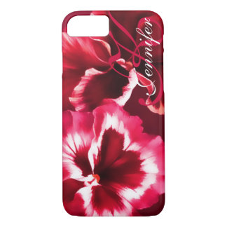 Name pansy floral red iphone case