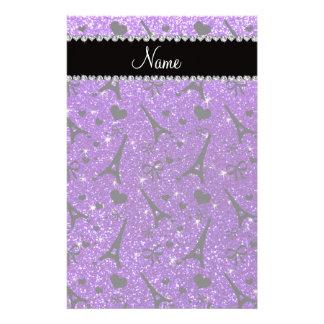 Name paris eiffek tower indigo purple glitter stationery design