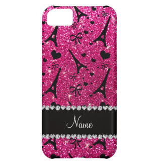 name paris eiffel tower neon hot pink glitter iPhone 5C case