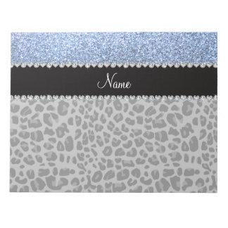 Name pastel blue glitter black leopard notepad