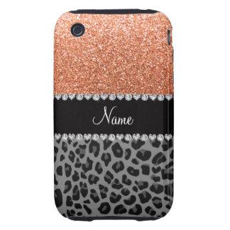 Name pastel orange glitter black leopard tough iPhone 3 case