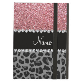 Name pastel pink glitter black leopard iPad air cover