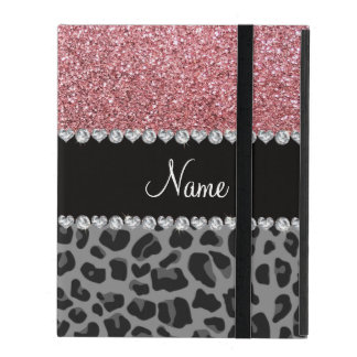 Name pastel pink glitter black leopard iPad folio cover