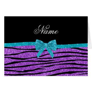 Name pastel purple glitter zebra turquoise bow greeting card