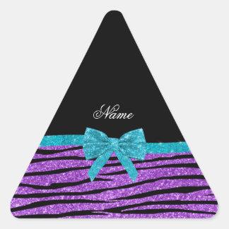 Name pastel purple glitter zebra turquoise bow triangle stickers