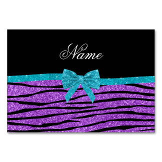 Name pastel purple glitter zebra turquoise bow table card