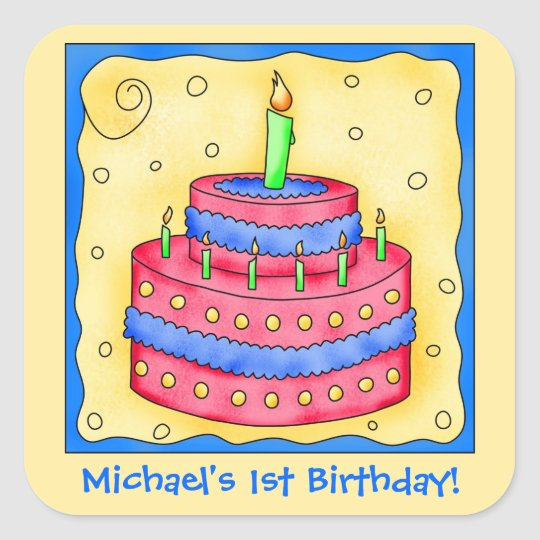Name Personalise Boy First Birthday Party Cake Art