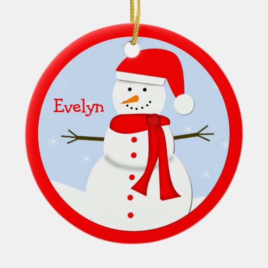 Name Personalised Christmas Snowman Ornament