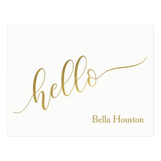 "Name Personalised ""Hello"" Script Postcard"