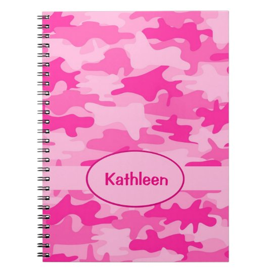 Name Personalised Hot Pink Camouflage Writing Notebooks