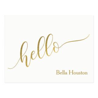 """Name Personalized """"Hello"""" Script Postcard"""