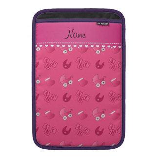 Name pink baby bib blocks carriage booties MacBook sleeve
