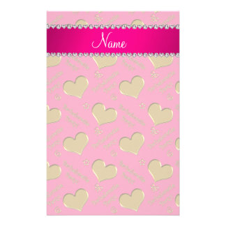 Name pink gold hearts bachelorette party customised stationery