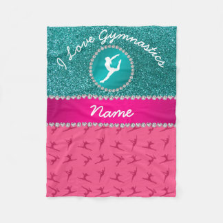 Name pink gymnastics robin blue glitter silhouette fleece blanket