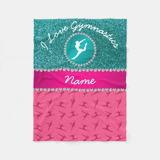 Name pink gymnastics robin blue glitter silhouette fleece