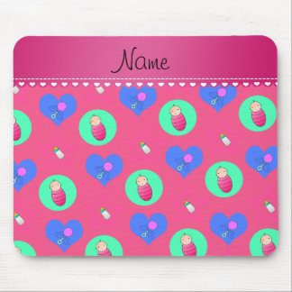 Name pink hearts dots stars baby rattle bottle mouse pad