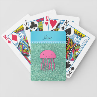 Name pink jellyfish seafoam green glitter bicycle playing cards