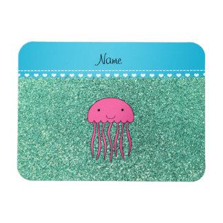 Name pink jellyfish seafoam green glitter rectangular photo magnet