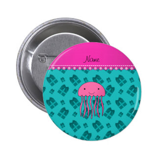 Name pink jellyfish turquoise Christmas presents 6 Cm Round Badge
