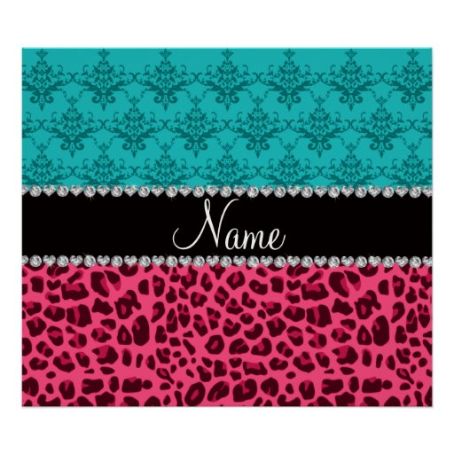 Name pink leopard turquoise damask posters