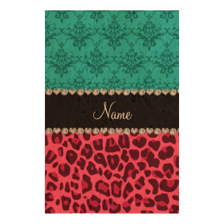 Name pink leopard turquoise damask cork paper