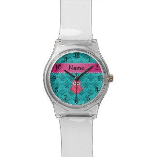 Name pink owl turquoise damask pink stripe wristwatch
