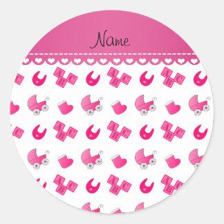 Name pink white baby bib blocks carriage booties round sticker