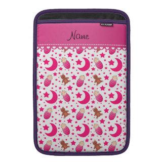 Name pink white baby teddy bear stars moons MacBook sleeve