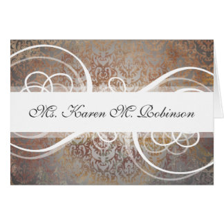 Name Place Cards Elegant Tuscan Damask Wedding